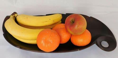 Vintage wooden leaf bowl for serving bread or fruit 17x7.5